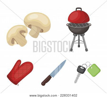 Barbeque Grill, Champignons, Knife, Barbecue Mitten.bbq Set Collection Icons In Cartoon Style Vector
