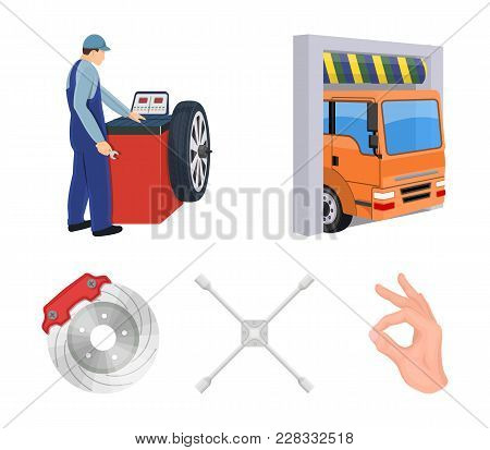 Wheel Balancing, Spanner And Brake Disc Cartoon Icons In Set Collection For Design.car Maintenance S