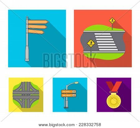 Direction Signs And Other  Icon In Flat Style.road Junctions And Signs Icons In Set Collection.
