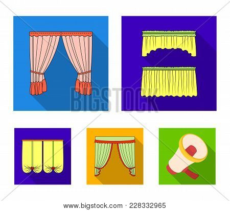 Different Types Of Window Curtains.curtains Set Collection Icons In Flat Style Vector Symbol Stock I