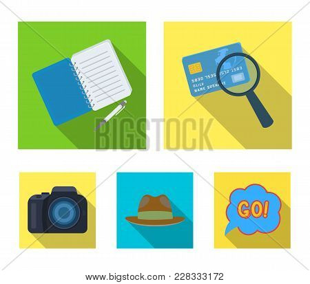 Camera, Magnifier, Hat, Notebook With Pen.detective Set Collection Icons In Flat Style Vector Symbol