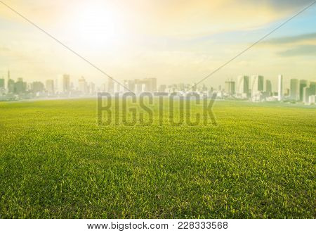 Land Scape Wide Green Grass Field And Modern Building Of Urban Skyscraper Use As Cityscape Backgroun