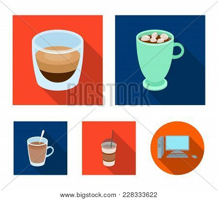 Ristretto, Hot Chocolate, Latte Take-away.different Types Of Coffee Set Collection Icons In Flat Sty