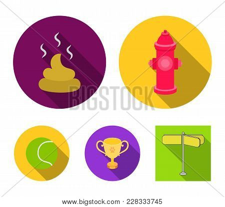 Tennis Ball, Game, Hydrant Fire, Cup, Feces.dog Set Collection Icons In Flat Style Vector Symbol Sto