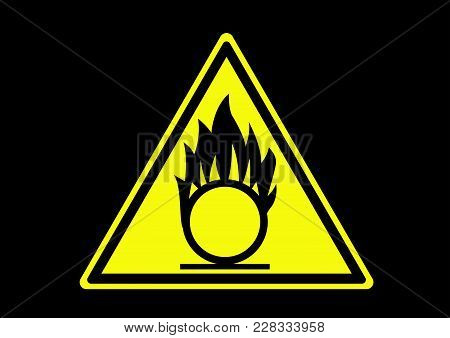 Oxidizing Material Warning. Information Area To Guide People