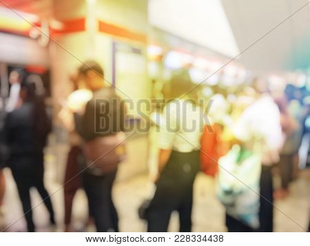 Blurred Image Of People Going To Work On The Queue Line Or Queuing In Rush Hour In The Morning Waiti