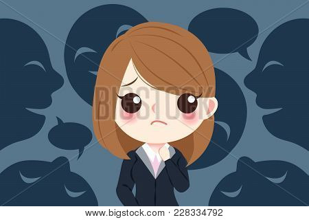 Blusiness Woman With Bullying Concept On The Black Background