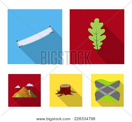 Oak Leaf, Saw, Stump, Mountain.forest Set Collection Icons In Flat Style Vector Symbol Stock Illustr