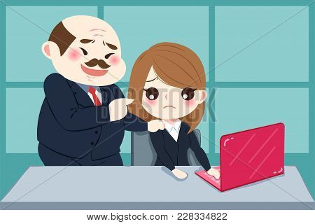 Cartoon Boss Harassing Woman In The Office