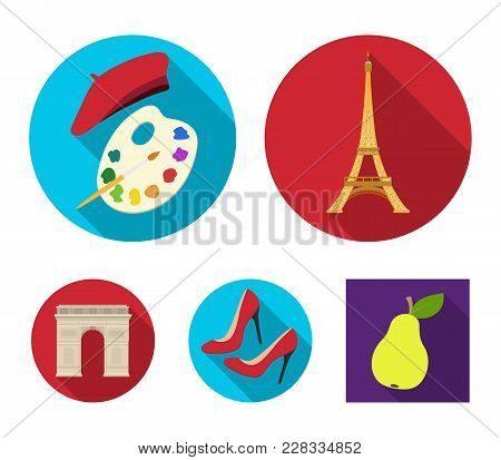 Eiffel Tower, Brush, Hat .france Country Set Collection Icons In Flat Style Vector Symbol Stock Illu