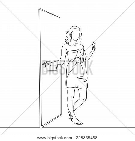 Single One Continuous Line Drawn By A Girl Woman In A Sauna, Steam Room, Shower.