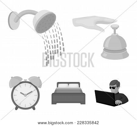 Call At The Reception, Alarm Clock, Bed, Shower.hotel Set Collection Icons In Monochrome Style Vecto