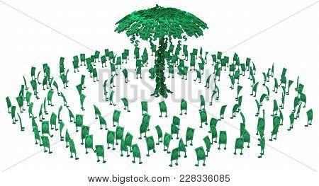 Dollar Money Symbol Cartoon Characters Crowd Circling Money Tree, 3d Illustration, Horizontal, Isola