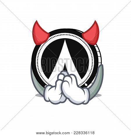 Devil Dentacoin Mascot Cartoon Style Vector Illustration
