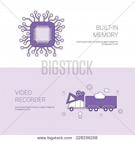Built In Memory And Video Recorder Concept Template Web Banner With Copy Space Vector Illustration