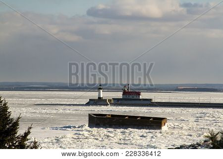 Lake Superior With The Crib And Lighthouses, Duluth, Minnesota