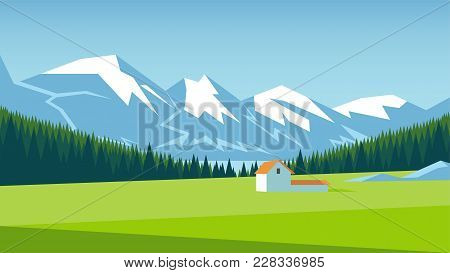 Mountain Landscape With Pine Forest And Green Meadow On Which Stands A Small House. Alpine Meadow Ve