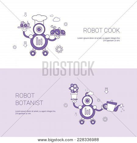 Robot Cook And Botanist Concept Template Web Banner With Copy Space Vector Illustration