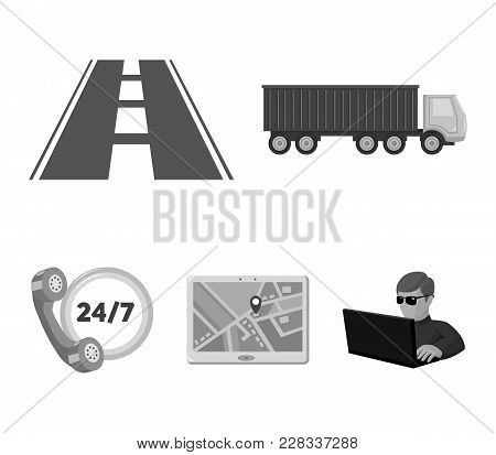 Round The Clock, Road, Truck, Jps.logistic, Set Collection Icons In Monochrome Style Vector Symbol S