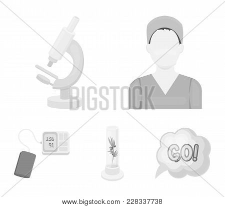 Plant In Vitro, Nurse, Microscope, Tonometer. Medicine Set Collection Icons In Monochrome Style Vect
