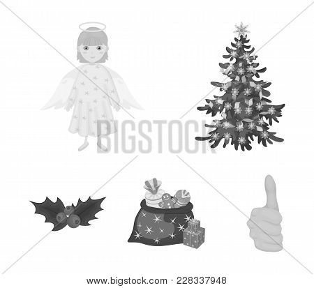 Christmas Tree, Angel, Gifts And Holly Monochrome Icons In Set Collection For Design. Christmas Vect