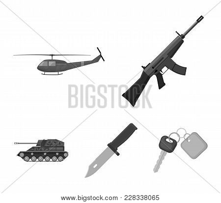 Assault Rifle M16, Helicopter, Tank, Combat Knife. Military And Army Set Collection Icons In Monochr