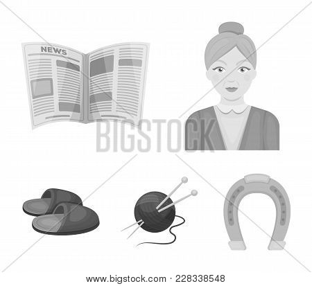 An Elderly Woman, Slippers, A Newspaper, Knitting.old Age Set Collection Icons In Monochrome Style V