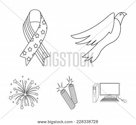 American Eagle, Ribbon, Salute. The Patriot's Day Set Collection Icons In Outline Style Vector Symbo