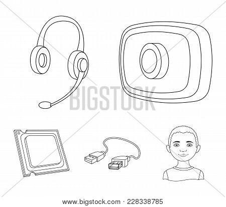 Webcam, Headphones, Usb Cable, Processor. Personal Computer Set Collection Icons In Outline Style Ve