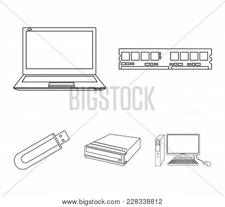 Flash Drive, Laptop, Memory Card.personal Computer Set Collection Icons In Outline Style Vector Symb