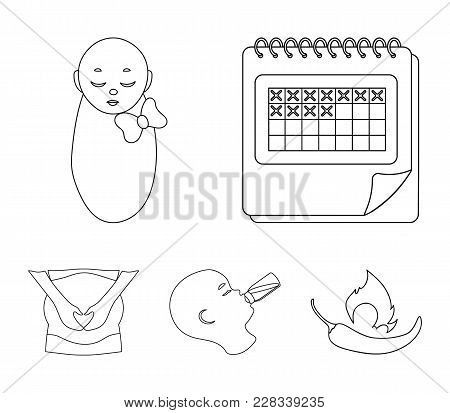 Calendar, Newborn, Stomach Massage, Artificial Feeding. Pregnancy Set Collection Icons In Outline St