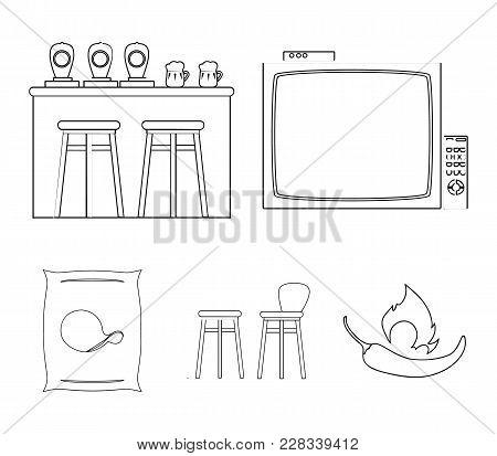 Tv, Bar Counter, Chairs And Armchairs, Potato Chips. Pub Set Collection Icons In Outline Style Vecto