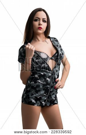 Pretty Brunette In Sexy Military Style Mini Dress Cropped Isolated Shot On White Background