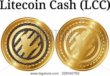 Set Of Physical Golden Coin Litecoin Cash (lcc), Digital Cryptocurrency. Litecoin Cash (lcc) Icon Se