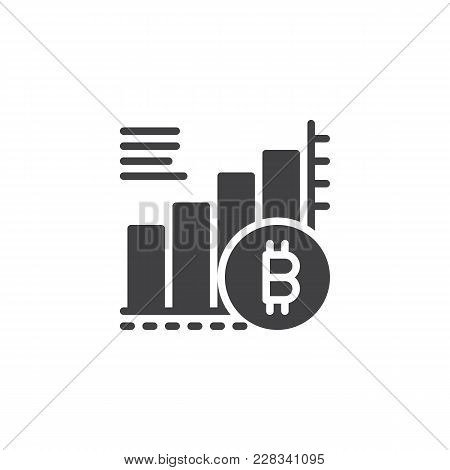 Bitcoin Growing Graph Chart Vector Icon. Filled Flat Sign For Mobile Concept And Web Design. Cryptoc