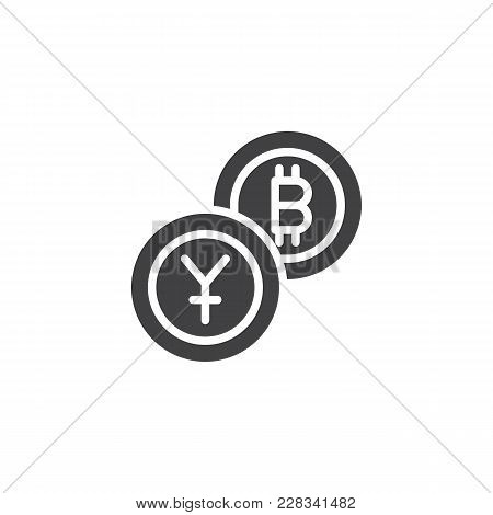 Yuan Exchange To Bitcoin Vector Icon. Filled Flat Sign For Mobile Concept And Web Design. Crypto Cur