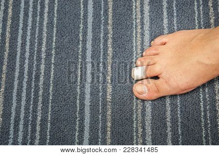Wound At Woman Toe Right Foot Healed With Band Aid For Medical Care