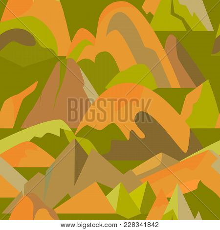 Bright Seamless Pattern With Mountain Icons In Flat Style. Repeatable Background With Different Rock