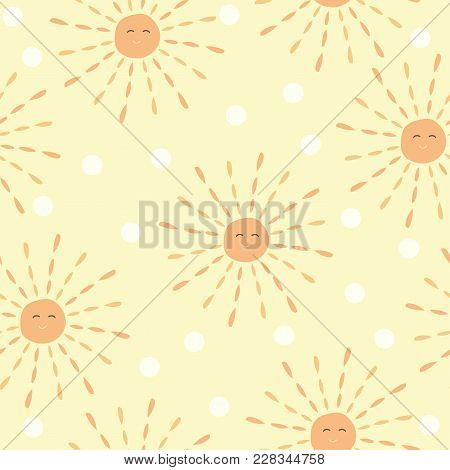 Cartoon Sun Pattern With Hand Drawn Doodle Sun. Cute Vector Colorful Sun Pattern. Seamless Cheerful