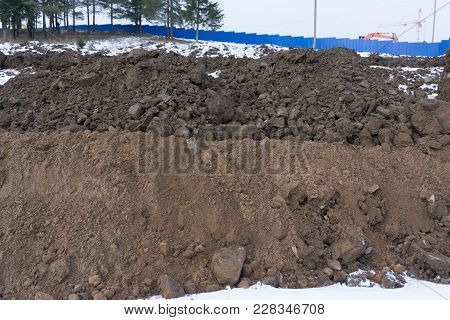 Agricultural Land For Cultivation, A Large Pile Of Thick, Wet Brown Soil Mountain Shape, Clay Pile I