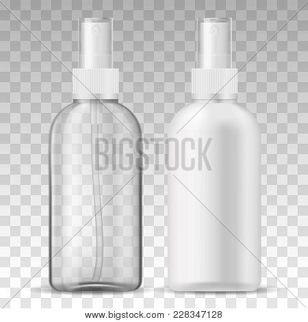 Ads Template Mockup Two Realistic Plastic Sprayer Bottle Transparent And White For Liquid Gel, Soap,