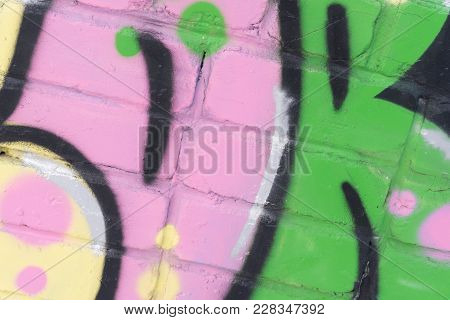 Beautiful Street Art Of  Abstract Color Creative Drawing Fashion On Walls Of City. Urban Contemporar