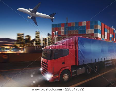 Truck, Aircraft And Cargo Ship In A Deposit Ready To Start To Deliver. 3d Rendering