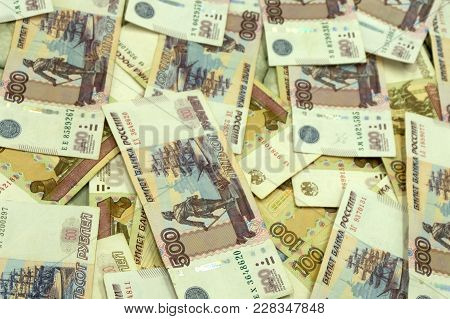 Background Of Five Hundredth Bills Of Russian Banknotes Thousands