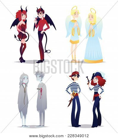 Boys And Girls In Style Of Different Halloween Characters. Young Couples In Costumes Of Demons, Ange