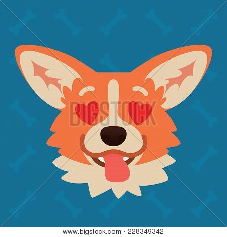Corgi Dog Emotional Head. Vector Illustration Of Cute Dog In Flat Style Shows Enamored Emotion. In L