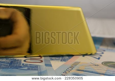 Wooden Section In Safe Overflowing Full Of Swiss Gold Bullion 999.9 Trial And Money Bill The Idea Of