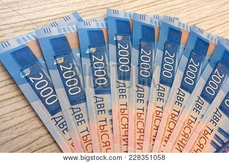 New Russian Banknotes On White Background. 2000 Rubles. Vladivostock. Russian Money