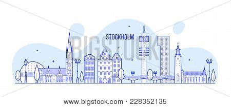 Stockholm Skyline, Sweden. This Vector Illustration Represents The City With Its Most Notable Buildi