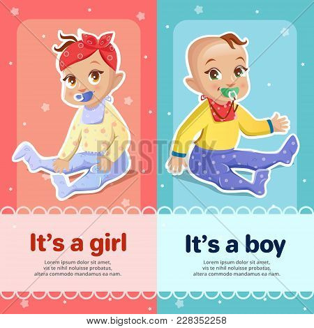 It S A Boy And It S A Girl Vector Illustration For Baby Shower Greeting Card Design. Newborn Boy And